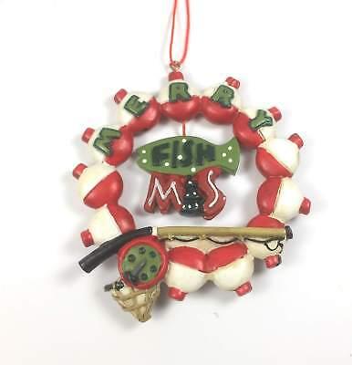 "Fishing Christmas Bobber Design Ornament /""Wishing I Was Fishing/"" Ornate Glass"