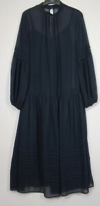 Marks-and-Spencer-Navy-Long-Sleeve-Drop-Waist-Midi-Dress-Size-6-18