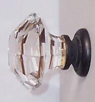 Two Oversized Asscher-cut Crystal Glass Bifold/wardrobe Knob Door/drawer Pulls
