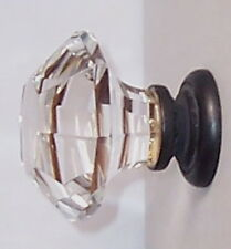 Two Oversized Asscher-Cut Crystal Glass BiFold/Wardrobe Knob Door/Drawer Pulls