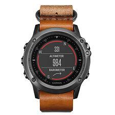 Garmin fenix 3 Multisport GPS Watch Sapphire Grey with Leather and Nylon Strap