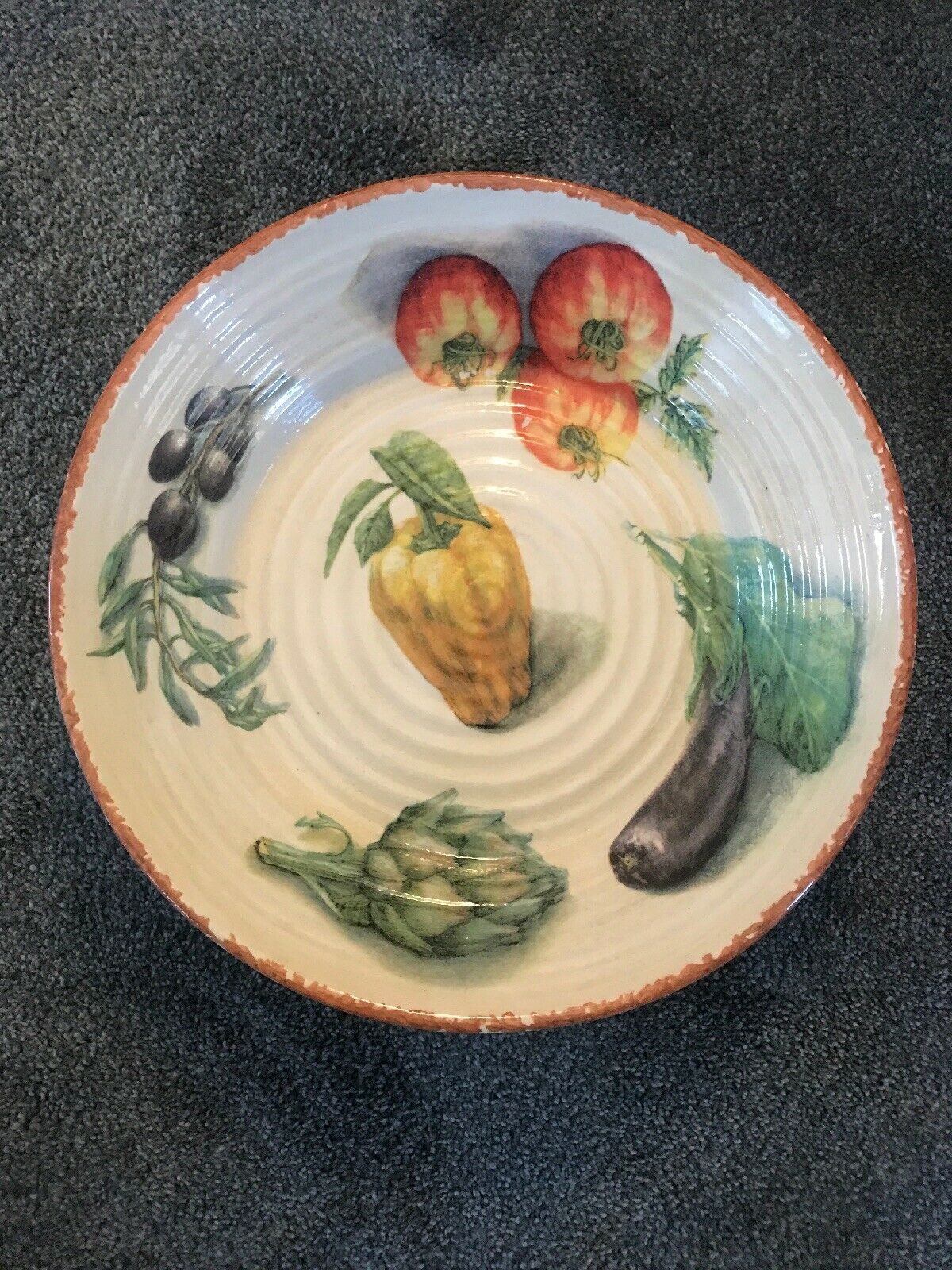 """WILLIAMS-SONOMA JARDIN POTAGER 14"""" LARGE PASTA SERVING BOWL MADE IN ITALY"""