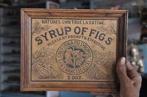 Vintage-Armazon-Syrup-de-Higos-Anuncio-Relieve-Madera-Cartel-Coleccionable