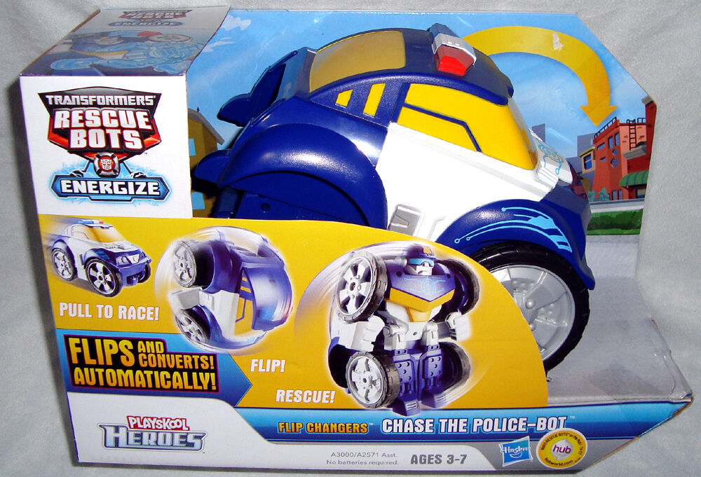 Transformers Rescue Bots Chase The Police-Bot Flip Flip Flip Changers MIB Playskool Heroes 05ae17