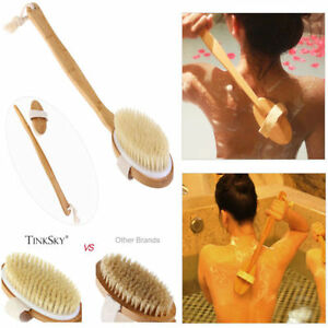 Natural Bristle Wooden Bath Shower Body Back Dry Skin Brush Spa Scrubber