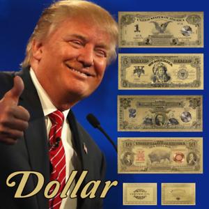 WR-US-Gold-Banknote-Set-of-1899-1901-1-2-5-10-Black-Eagle-Chief-Bison-Notes