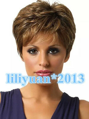 Fashion Women's ladies wigs short Brown mixed Natural Hair +free Wig cap