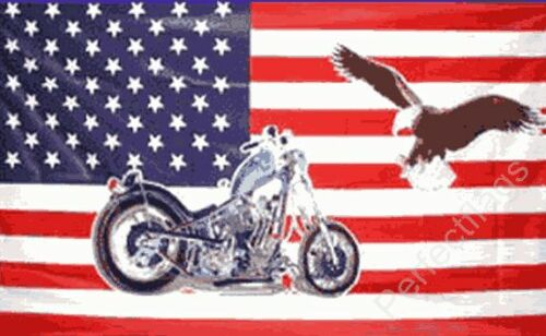 5x3 Feet USA MOTORCYCLE AND EAGLE FLAG BIKE AND BIRD