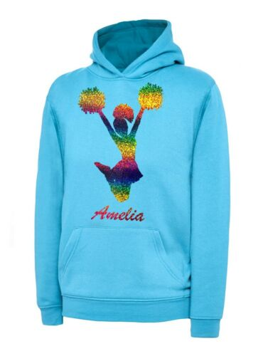 PERSONALISED RAINBOW//GLITTER PRINTED CHEERLEADER HOODIE  /& BAG SET AGE 3-13