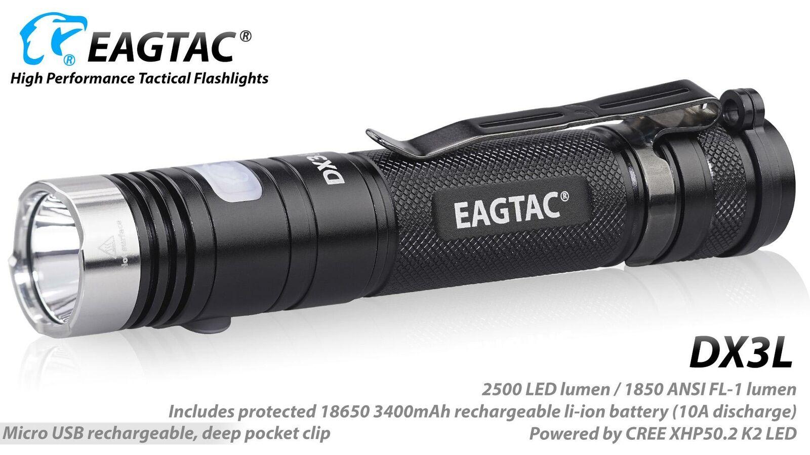 EagleTac DX3L Clicky Pro XHP50.2 Recargable LED Flahlight-blancoo Neutro, 232