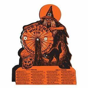 Witch-Fortune-Wheel-Game-Vintage-Style-Halloween-Party-9-25-x-6-75-Inches-New