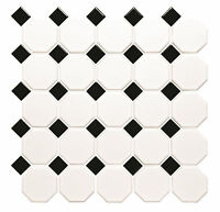 White Matt Octagon Tile Mosaic with Gloss Black Taco