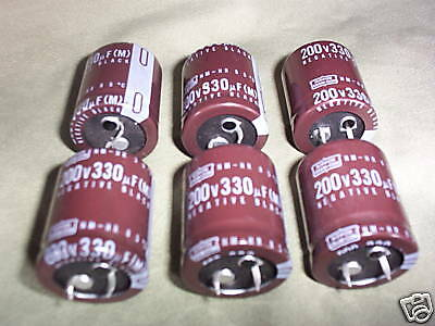 Nippon Chemicon Electrolytic Capacitor 200V 330uF 35x30mm Snap in 6Pieces OL0628