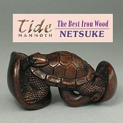 Boxwood Netsuke TURTLE ON MUSHROOM Carving WN274