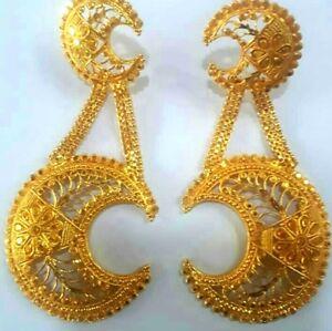 6ffec5333 22K Gold Plated Designer 4'' Long Beautiful Indian Wedding Earrings ...