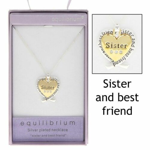 Sister Gift 9186 SILVER PLATED GOLD HEART PENDANT NECKLACE