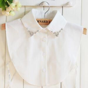 Ladies Collar Fashion Removable Beads Flower Lapel Shirt Fake Collar Choker
