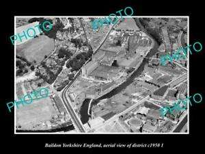 OLD-LARGE-HISTORIC-PHOTO-BAILDON-YORKSHIRE-ENGLAND-DISTRICT-AERIAL-VIEW-c1950-1