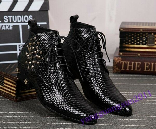 British Style Mens Shoes Dress Formal Real Leather Cuban Heels Rivets Pointy Toe