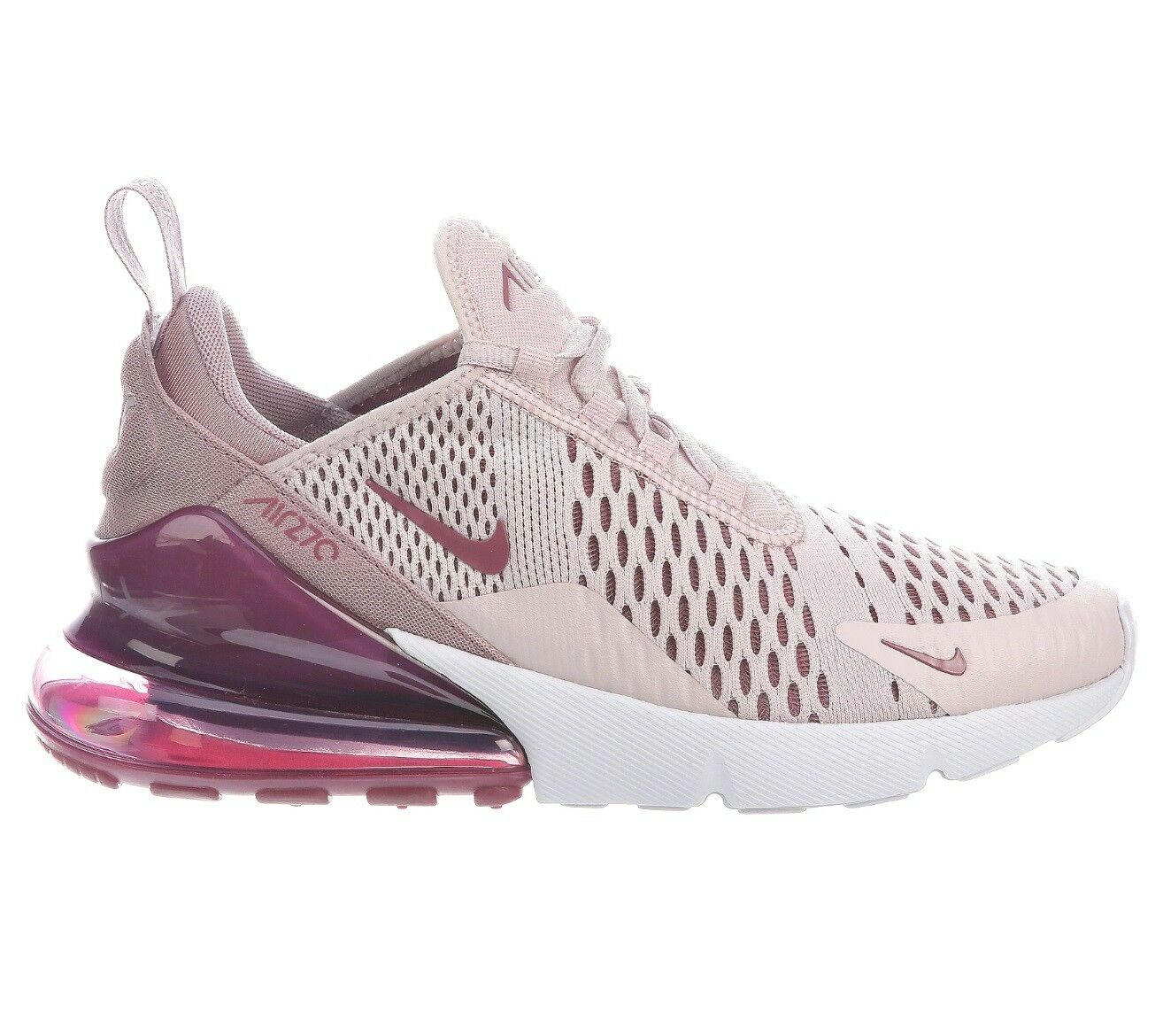 Nike Air Max 270 Womens Barely Rose Pink Wine Running Shoes Comfortable