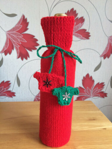 Bottle bag Wine gift bag Christmas Red Gift bag  Hand knitted Unique