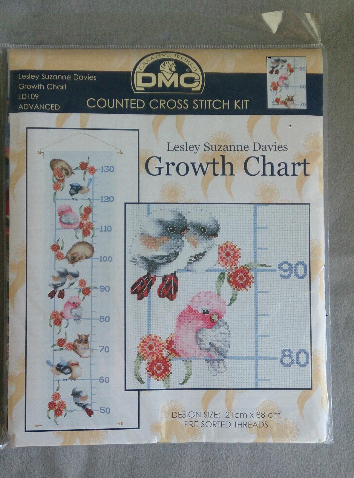 Australian Animal Bird Growth Chart 21 X 88cm 14ct Aida Ebay