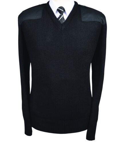 Mens VNeck Combat Nato Security Military Police//Aviation Workwear Woolmix Jumper