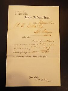 Traders National Bank Receipt 1876