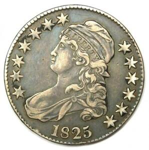 1825 Capped Bust Half Dollar 50C Coin - VF / XF Details - Rare Date!