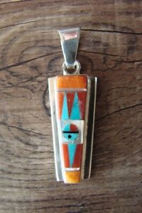 Zuni-Indian-Sterling-Silver-Sunface-Spiny-Oyster-Inlay-Pendant-by-Edaakie