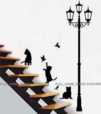 CATS & LAMP POST Adhesive Wall Art Decor Sticker Mural Paper Peel & Stick Home