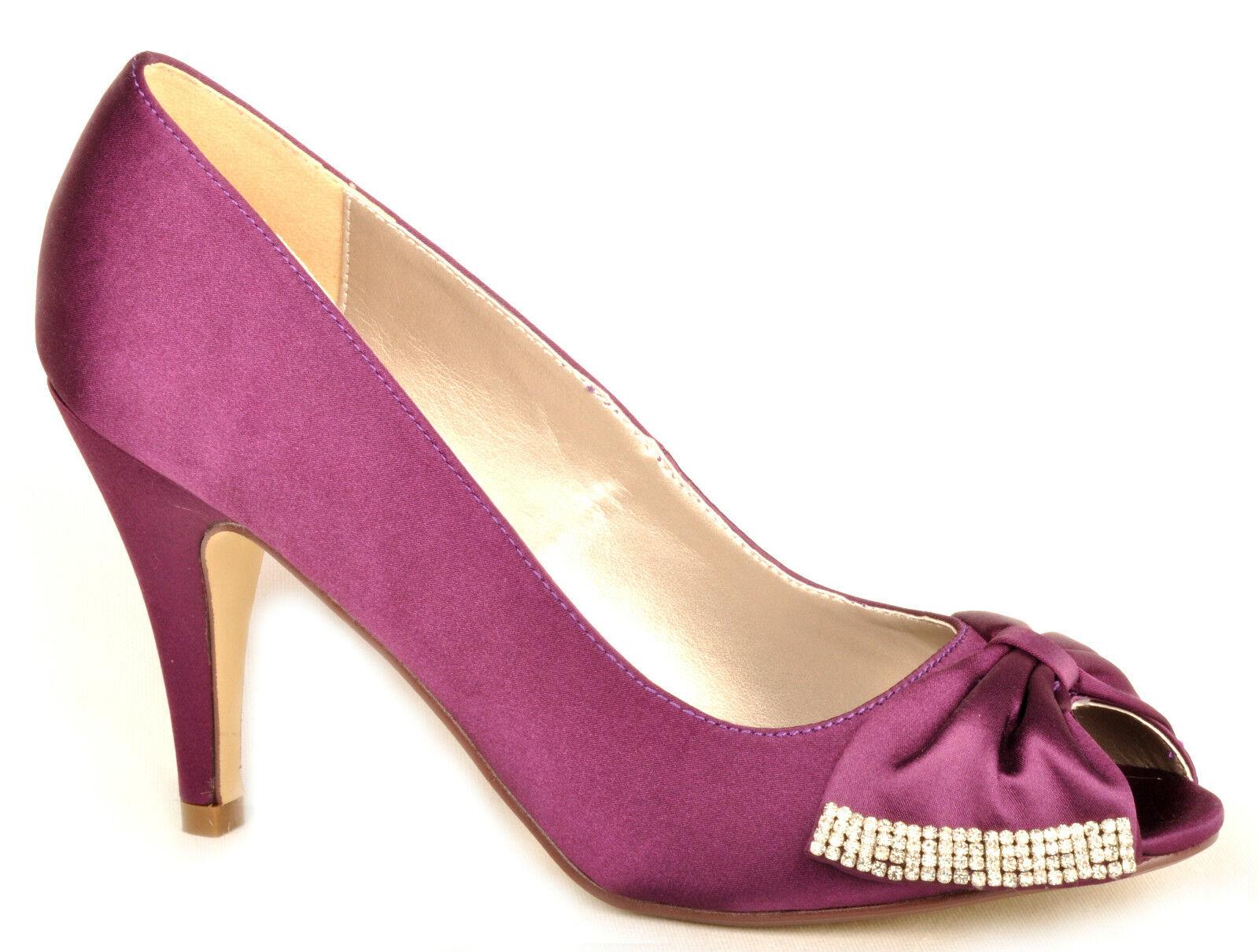 New Purple Satin Diamante High Heel Wedding Bridal Prom Shoes UK 3 4 5 6 7 7.5