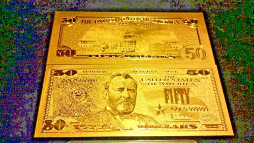/<2X HOT UNIQUE DOLLAR/> ~ GOLD Rep.*U.S.$50.00 Banknote FAST S/&H ~U.S SELLER!