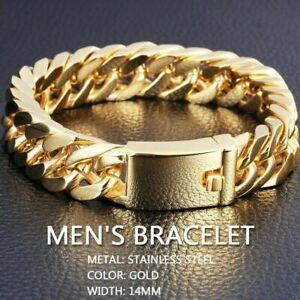 Men-039-s-Heavy-Solid-Stainless-Chunky-Bracelet-Cuban-Curb-Link-Chain-Gold-14mm-Hot