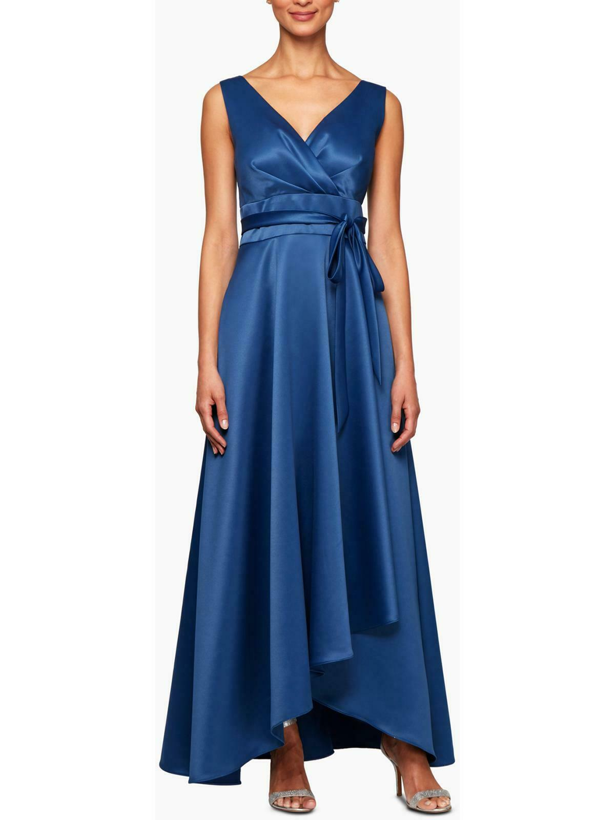 ALEX EVENINGS 12P, 14P Wedgewood Blue V-neck Wrap Gown NWT