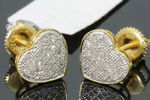 .24 CARAT YELLOW GOLD FINISH MENS WOMENS 10mm REAL DIAMOND HEART EARRINGS STUDS