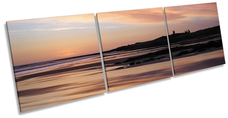 Sunset Sunrise Dunstanburgh Castle TREBLE CANVAS WALL ART Box Frame Picture