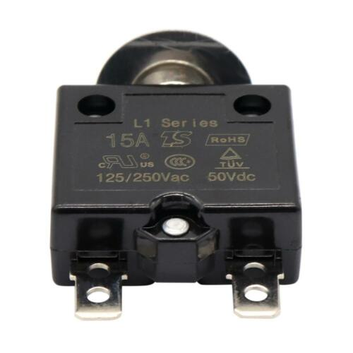 Manual Reset 5A 125-250V AC DC 50V Push Button Switch Thermal Circuit Breaker
