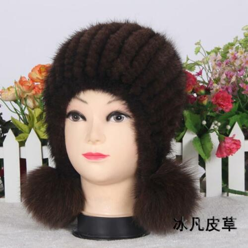 Genuine Real mink Knitted Fur hat with ball Women/'s Winter warm Russian fur hat