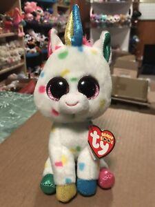"caacd96266f Ty HARMONIE White w Multi-Color Confetti Patterned Unicorn 6"" Beanie ..."