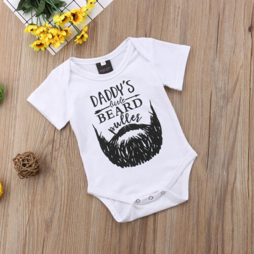 UK Newborn Kids Baby Boy Girl Funny DADDY/'S BEARD Romper Jumpsuit Clothes Outfit