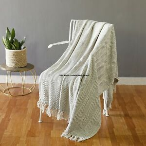 Grey Woven Throw Blanket Bed Sofa Couch
