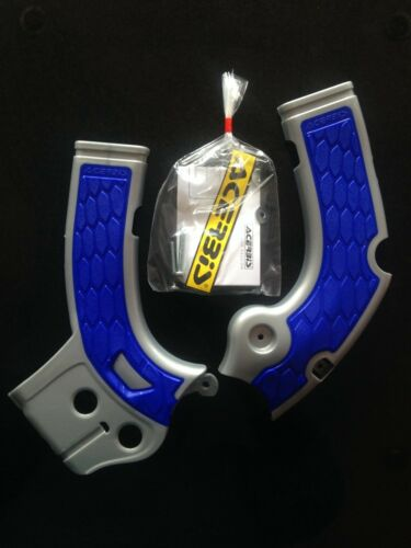 BLUE FRAME GUARDS PROTECTORS YAMAHA YZF 250 YZF250 2017-2018 ACERBIS SILVER