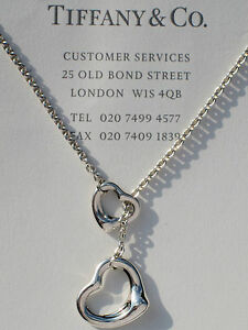 855bcd6ec Details about Tiffany & Co Sterling Silver Elsa Peretti 16mm Open Heart  Lariat Drop Necklace