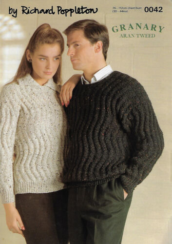 Men /& Women/'s Textured Sweater Poppleton 0042 knitting pattern 10 ply yarn aran