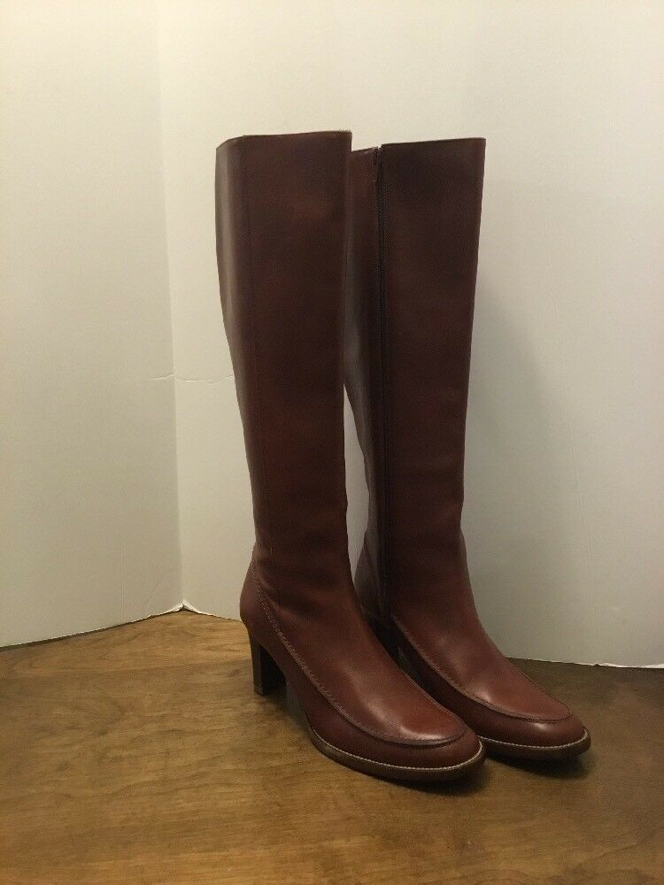 "Ralph Lauren Tall braun Leather Stiefel Zipperot Größe 6B  2.75"" Heel 18"" Tall"
