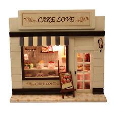DIY Wood Dollhouse Miniature Cake Love Bakery Bread Store Shop Model Kit w/Light