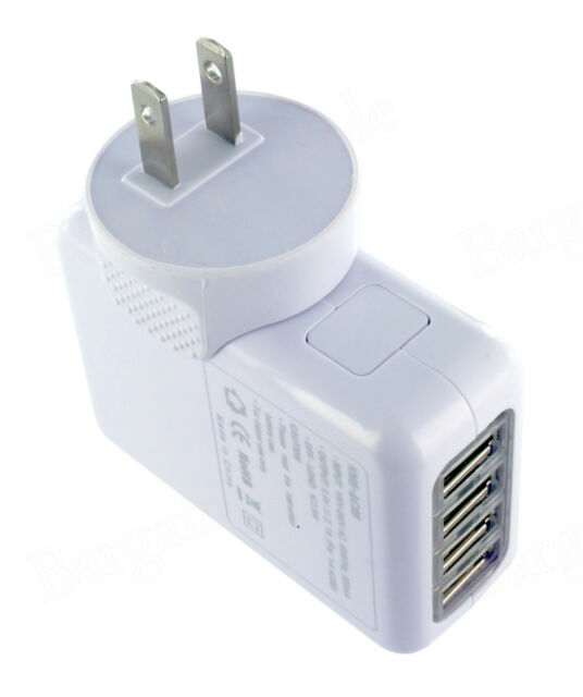 White 2.1A 4 Port USB 10W Portable Travel USA AC Wall Power Plug In Charger - US