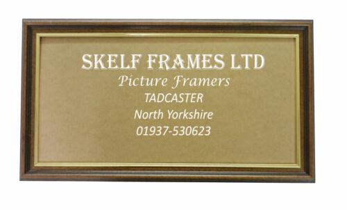 35 mm en bois foncé avec Or Inlay panoramique Photo Affiche Cadre avec verre