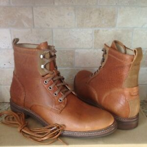 69981a2e40c Details about UGG SELWOOD CHESTNUT LEATHER SHEEPSKIN LACE-UP ANKLE BOOTS  SHOES US 10 MENS NIB